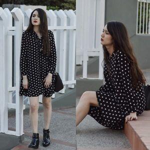 Zara Dress Black with White Polka Dots